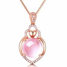 Модное роскошное ожерелье из розового золота с кулоном, украшенное кристаллами AAA, очаровательные женские вечерние подарки, подходящая упаковка для ювелирных изделий