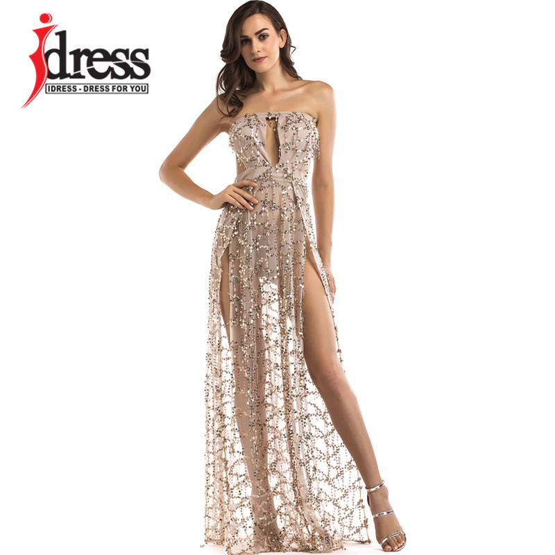 IDress Luxury Sexy Women Strapless Sequin Long Dress Clubwaer 2017 Elegant  Gold Black White Party Dresses bc89a195f