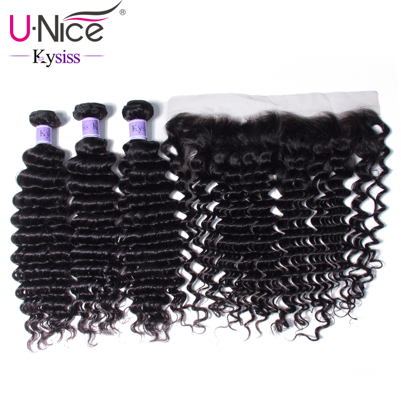 UNice Hair 8A Kysiss Series Deep Wave 3 Bundles With Frontal Brazilian Hair Lace Frontal Closure