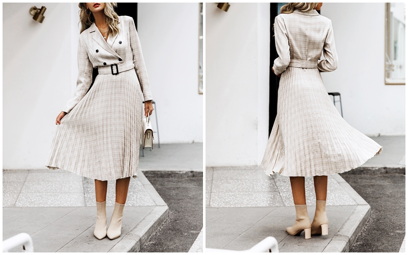 BerryGo Autumn winter women blazer dresses vestidos Pleated plaid long dress elegant Office ladies high waist belt female robe 4