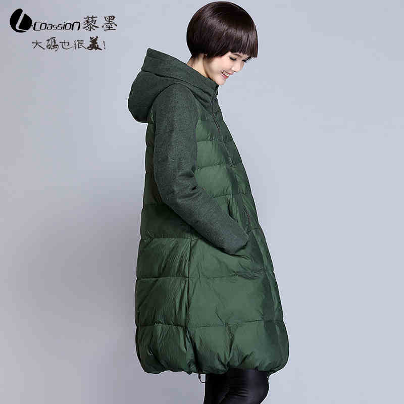 2015 New Hot Winter Thicken Warm Woman Down jacket Coat Parkas Outerwear Hooded Splice Slim Luxury High-end Long Plus Size 3XXXL 2016 new hot winter thicken warm woman down jacket coat parkas outerwear luxury pu leather splice woolen long plus size xl