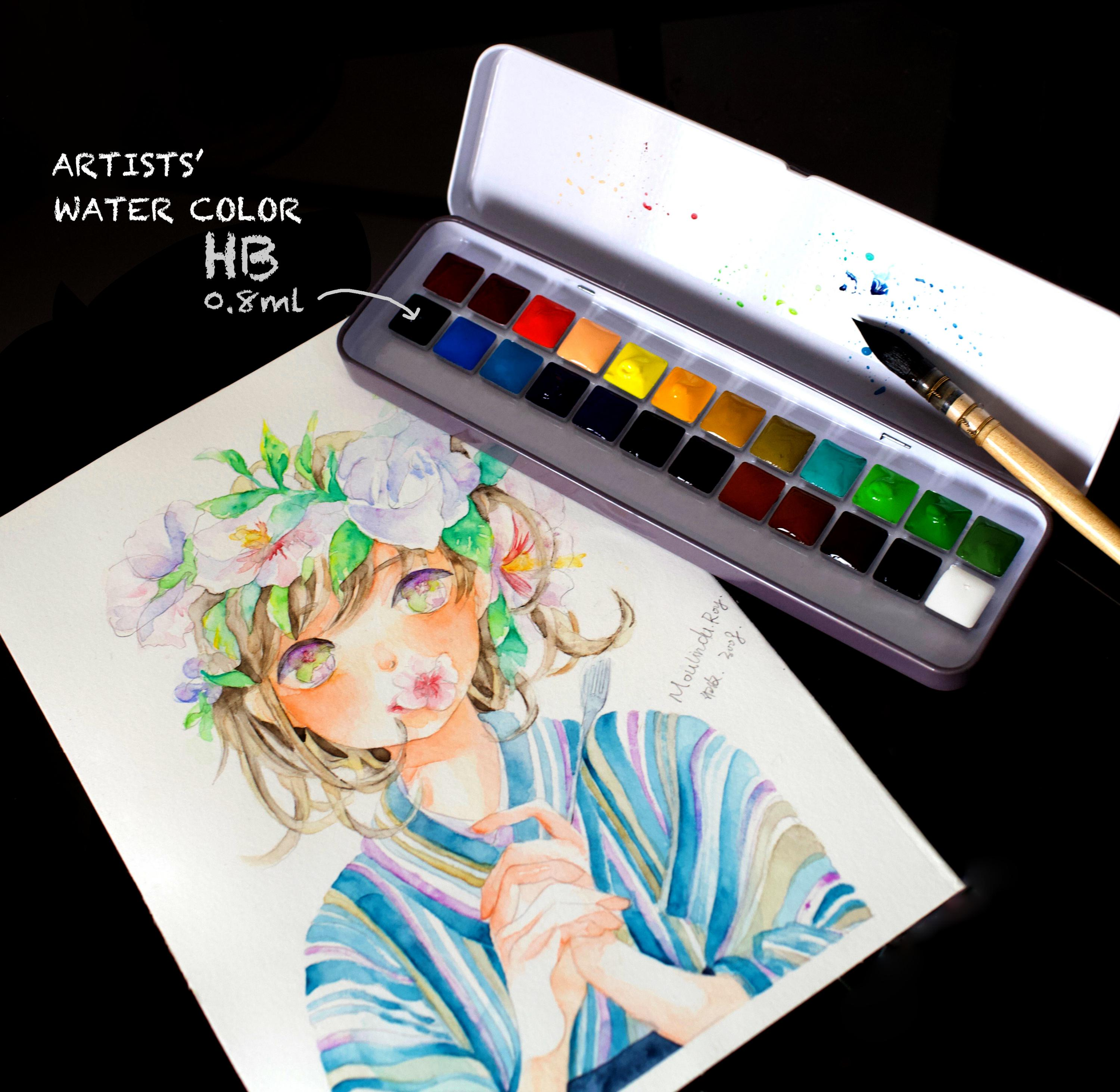 Japan Defeated Hb Holbein Artist Class Solid Watercolor Small Red Box 24 Colors Plant Color 24 Colors 0.8ml Package Mail japan holbein expert level transparent watercolor seven gods 12 colors 1 2ml solid watercolor trial tray dispensing plate
