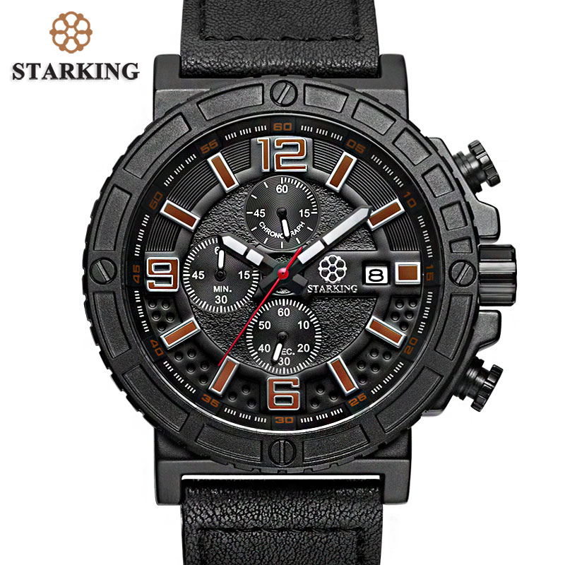 STARKING Mens Military Watch Chronograph Men Sports Watches 3ATM Fashion Multi function Outdoor Casual Men Wristwatches