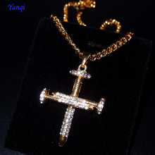 Fashion Hip Hop Jewelry Gold Zircon Nail punk Cross Pendant Iced Out Crystal Pendants Necklace Christian GiftS
