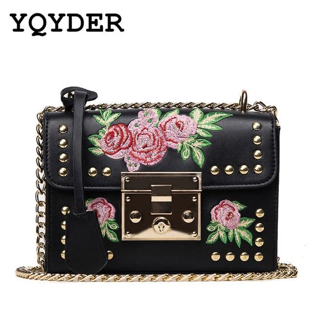 40394d2e3a YQYDER femmes broderie fleur rabat Sac Designer PU cuir mode Rivet  Messenger sacs Feminina dames petit