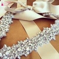 New Style Champagne Crystal Wedding Belts 200cm sash Bride Belt In stock Crystal Length 4.1cm*45cm Red White Belt DQG014