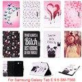 Для Samsung Galaxy Tab E 9.6 T560 T561 SM-T560 Case Симпатичные мультфильм Собака Любовь Череп Шаблон Фолио ИСКУССТВЕННАЯ Кожа Протектор Задняя Крышка