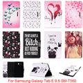 For Samsung Galaxy Tab E 9.6 T560 T561 SM-T560 Case Cute Cartoon Dog Love Skull Pattern Folio PU Leather Protector Back Cover