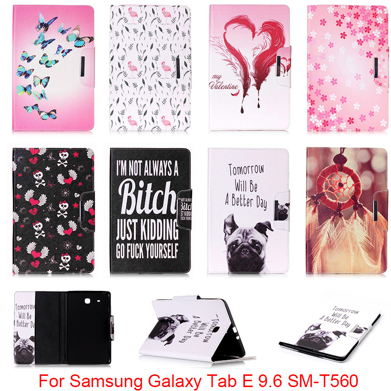 For Samsung Galaxy Tab E 9.6 T560 T561 SM-T560 Case Cute Cartoon Dog Love Skull Folio PU Leather Protector Back Cover Capa DP00E
