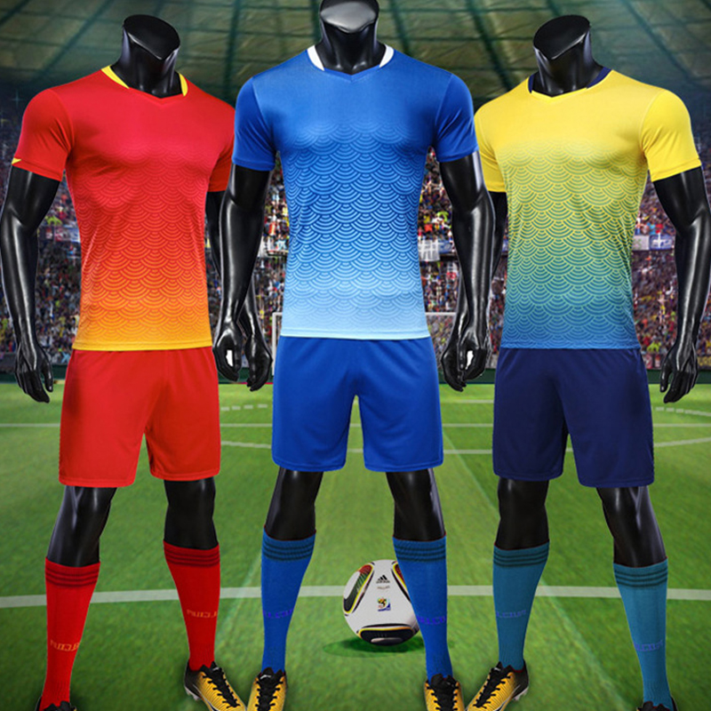 new arrival 64b6f e6f53 Customize Adult/kids Breathable Soccer Set 2018 2019 Football Jerseys  Uniforms Suit Boys Futsal Kits DIY Print Team Sportswear