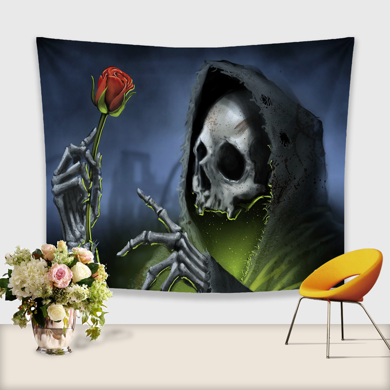 3D Skull Tapestry Polyester Wall Hanging Gobelin Painting Pattern Beach Picnic Yoga Rug Mat Home Decor Crafts-in Tapestry from Home & Garden