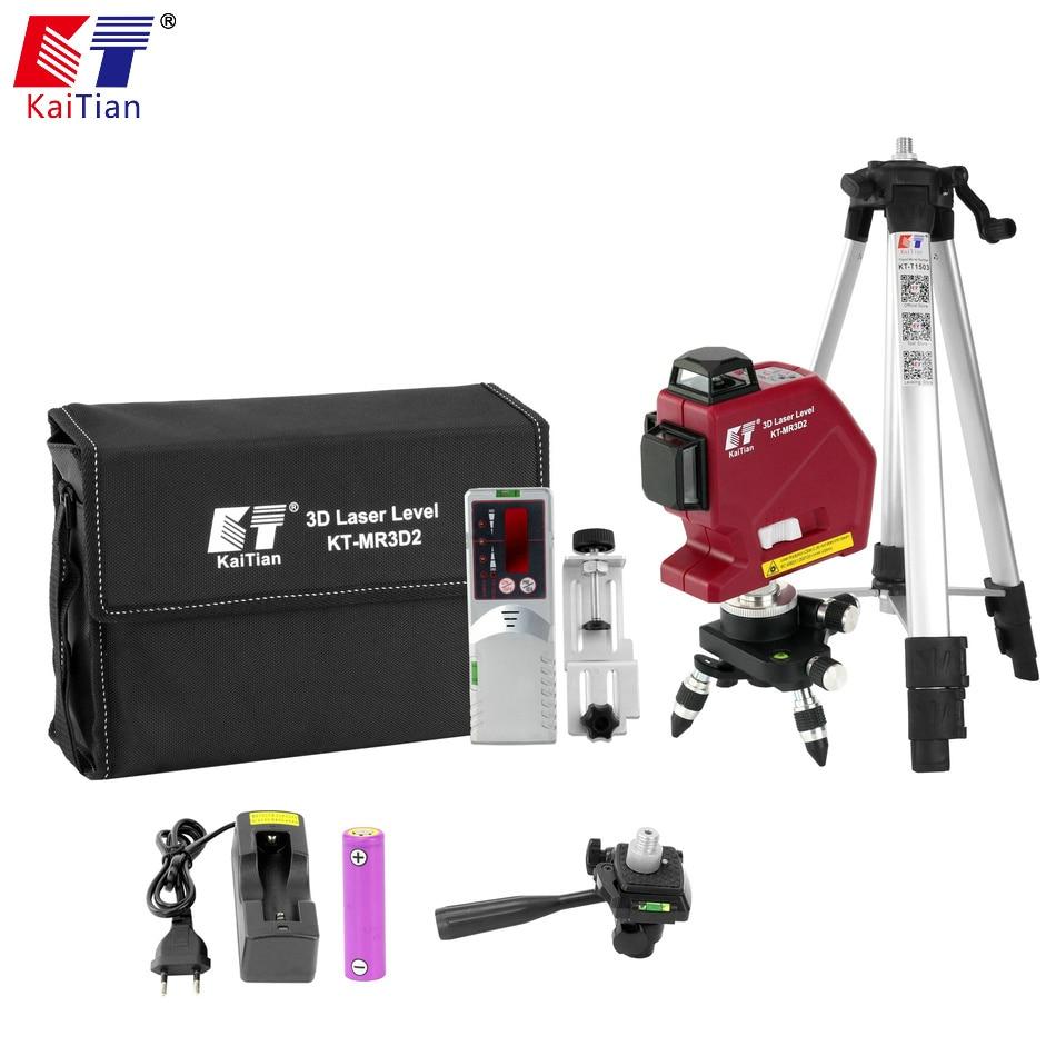 Kaitian 3D Laser Level 12 Lines Outdoor Construction Tools Receiver Bracket Level 360 Degree Horizontal Vertical Leveling Laser