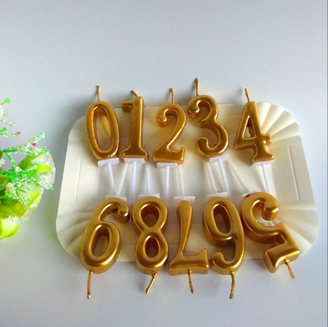 Online Shop 10 Pcs Romantic Gold Birthday Candles for Kids Girls