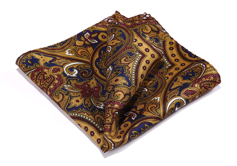 HN37Z Brown Blue Burgundy HISDERN Handkerchief 100% Natural Silk Satin Mens Hanky Fashion Classic Wedding Party Pocket Square