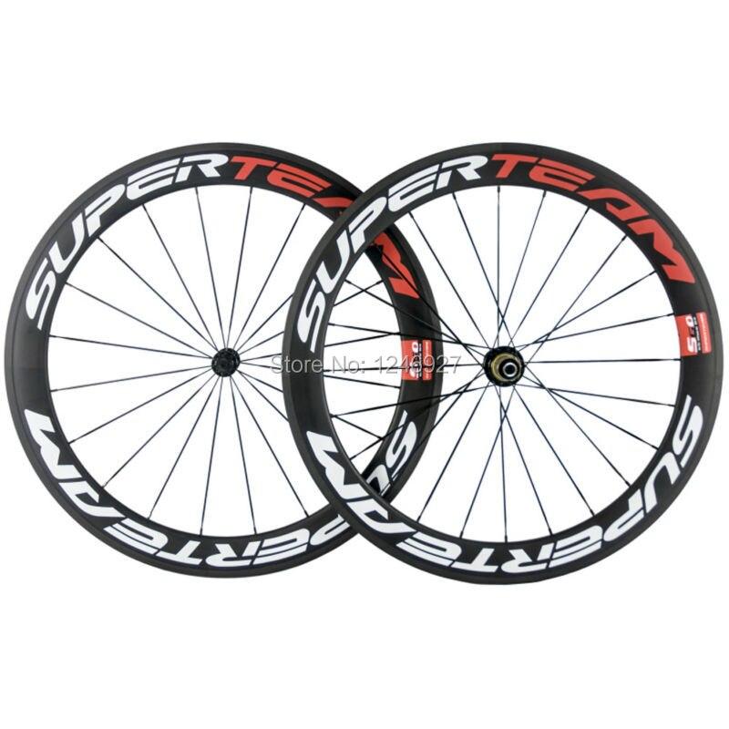 T700 Full Carbon Fibre 60mm Carbon Wheelset Clincher Road Bike Wheels Superteam Carbon Wheel Carbon Clincher