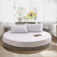 New Quality 100% Cotton Fitted Sheet Solid Color Bed Sheet Round Soft Sheet with Elastic Band 200 Cm/ 220 Cm Queen Size