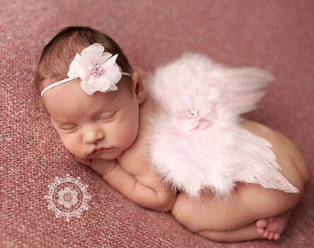 Lovely Angel Feather Wings With Baby Girl Chiffon Flower Hairband Photo Shoot Hair Accessories For Newborns Photography Props