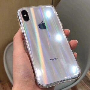 Image 3 - Funda transparente con gradiente de láser arcoíris para iPhone X, XS, Max, XR, 11, XR, 6S, 7, 8 Plus, 12, cubiertas acrílicas transparentes