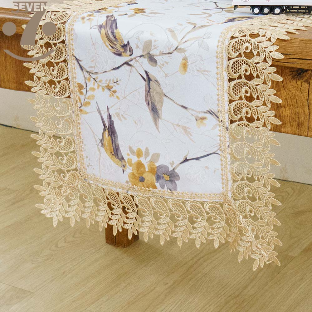 Free Shipping Dining Banquet Embroidered Border Decorative Birds Printed Jacquard Cloth Table Runner