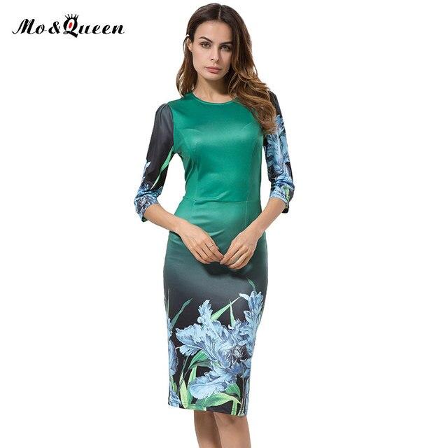 Элегантный Карандаш Платье Женщины Новые Цветочные Печати Bodycon Женщины Платья 2016 Мода Повседневная Midi Платье Осень Женская Одежда Vestidos