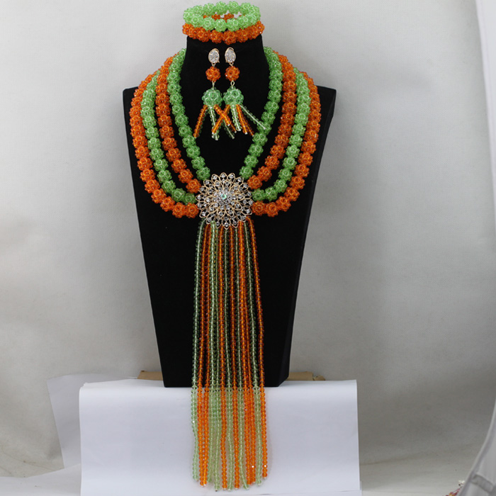 Gorgeous Orange Dubai Fashion Jewelry Set Lemon Green Crystal Balls Necklace Set Full Beaded Costume Jewelry Set Free Ship QW061 цена
