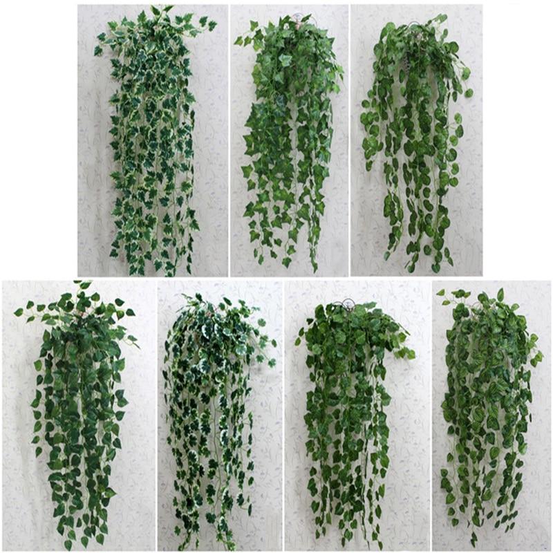 WEIGAO 1pcs 90cm Hiedra Artificial Plants Green Leaves Leaf Wedding Jungle Party Artificial Plantas Artificiales Para Decoracion