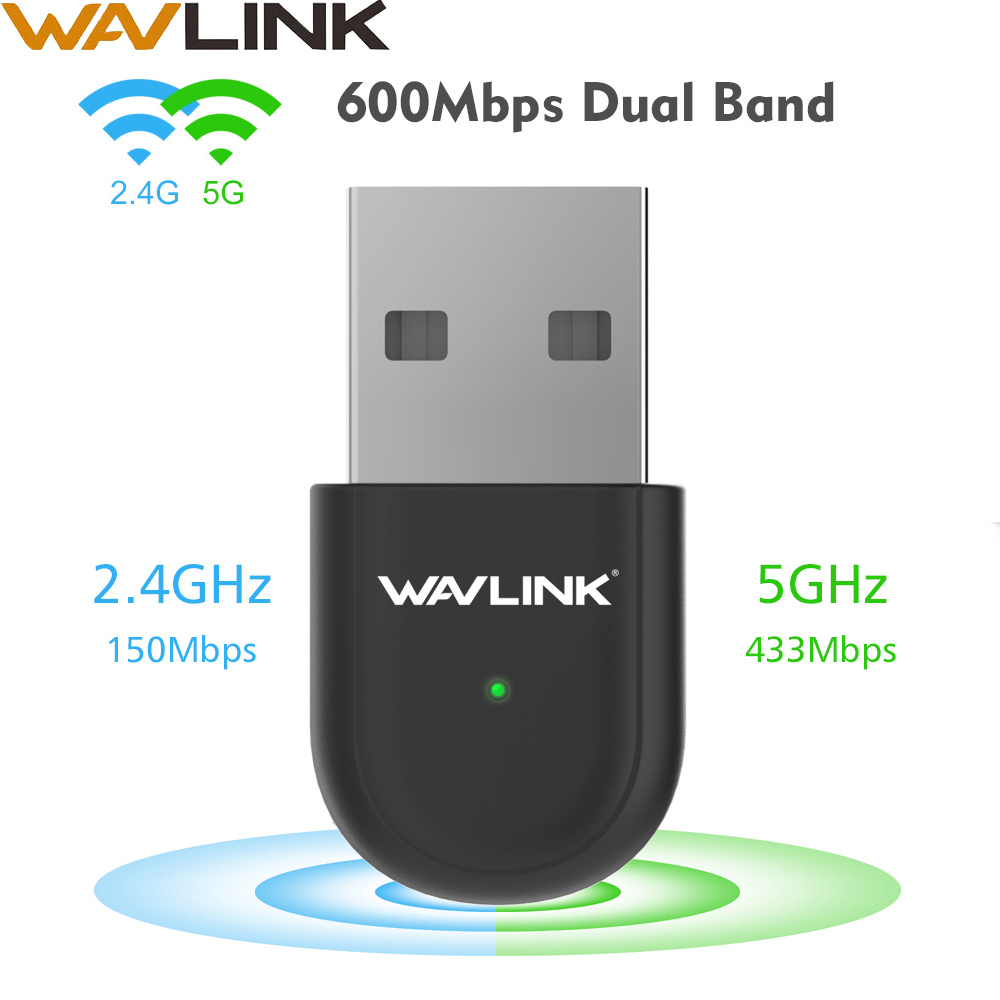 Wavlink USB2.0 AC600 USB Wifi Adapter 600Mbps Dual Band 2.4G/5Ghz Wifi Dongle USB Wireless Network Lan Card Receiver For Desktop