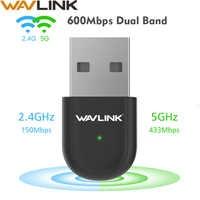 Wavlink USB2.0 AC600 wifi USB dongle Wifi Adaptador Dual Band 2.4g/5g USB placa de Rede Sem Fio lan Cartão receiver para PC Portátil Desktop