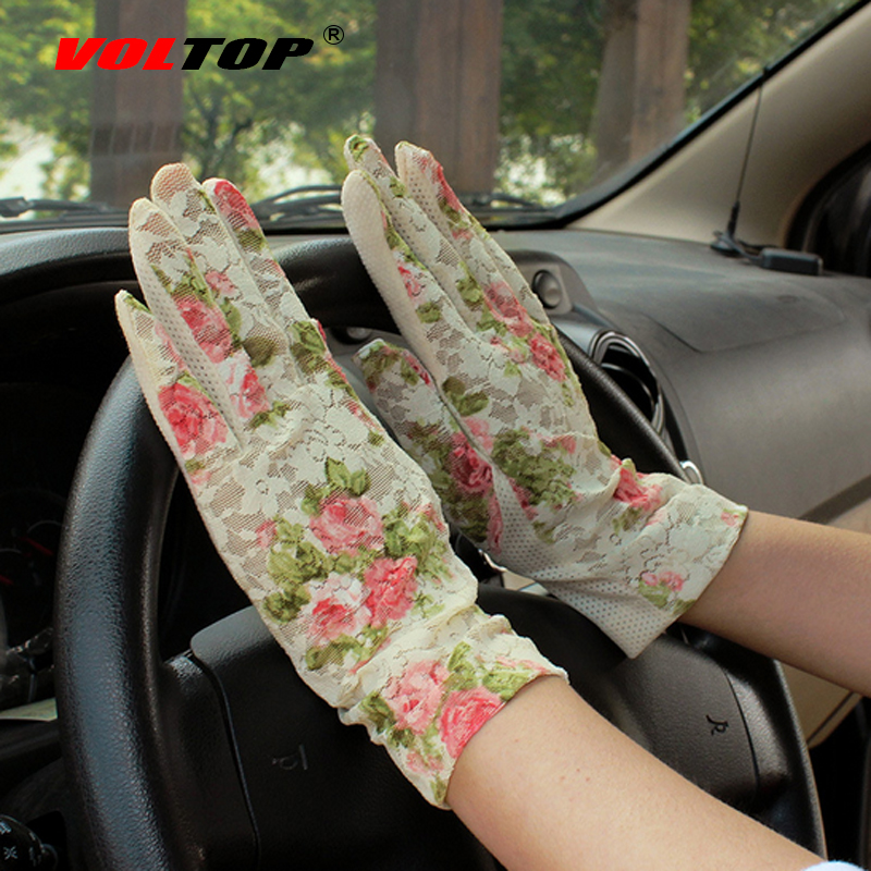 VOLTOP Lace Sunscreen Non-slip Glove Flower Wave Ladies Summer Driver Drive Safety Motorcycle Cycling Riding Gloves Protect Skin