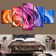 Home Decor Canvas Paintings Modern For Living Room Wall Art 5 Pieces Colorful Rose Flowers Posters HD Prints Pictures Framework(China)