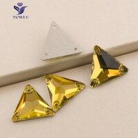 Yanruo 3270 Треугольники Свет Топаз пришить Стразы Стекло Cystals плоской задней Вышивание Craft платье