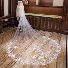 Двухслойная кружевная свадебная вуаль с аппликацией цвета шампанского, потрясающая Длинная фата невесты с гребнем AX2019