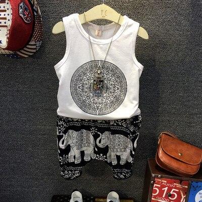 2pcs Boys summer fashion clothing set kids white black printed t shirt and elephant short set baby cotton casual clothes 2-7T