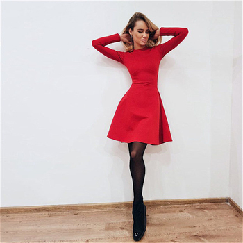 AiiaBestProducts - Fashion Women Winter Dress Long Sleeve Bodycon O-neck Casual 1