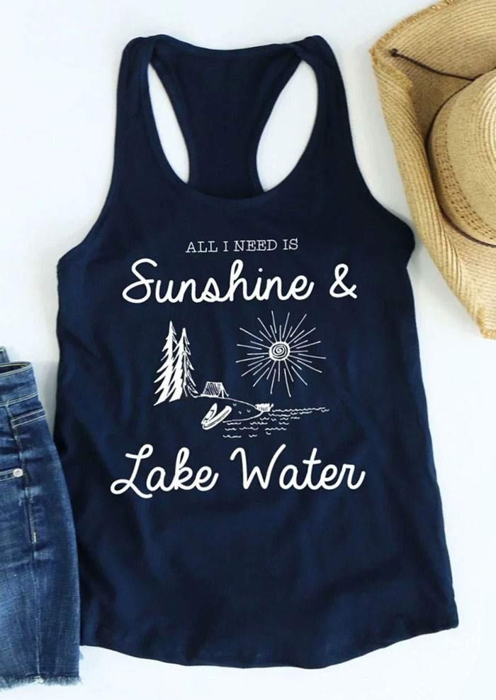 Tank     Tops   Women 2018 Summer Sleeveless   tops   tee All I Need Is Sunshine & Lake Water Print Casual   Tank   Femme Vest Ladies   Tops