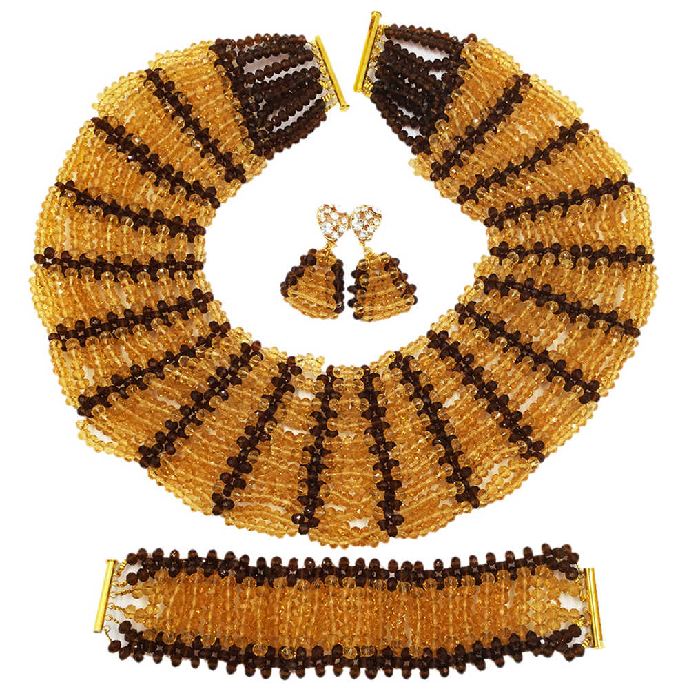 Champagne Gold Brown Crystal Beaded Necklace Nigerian Wedding African Beads Jewelry Set for Women Bridal Party Beads Sets SXK002 purple clear ab crystal african wedding beads nigerian beaded necklace jewelry set bridal party jewelry sets for women 10c sz30