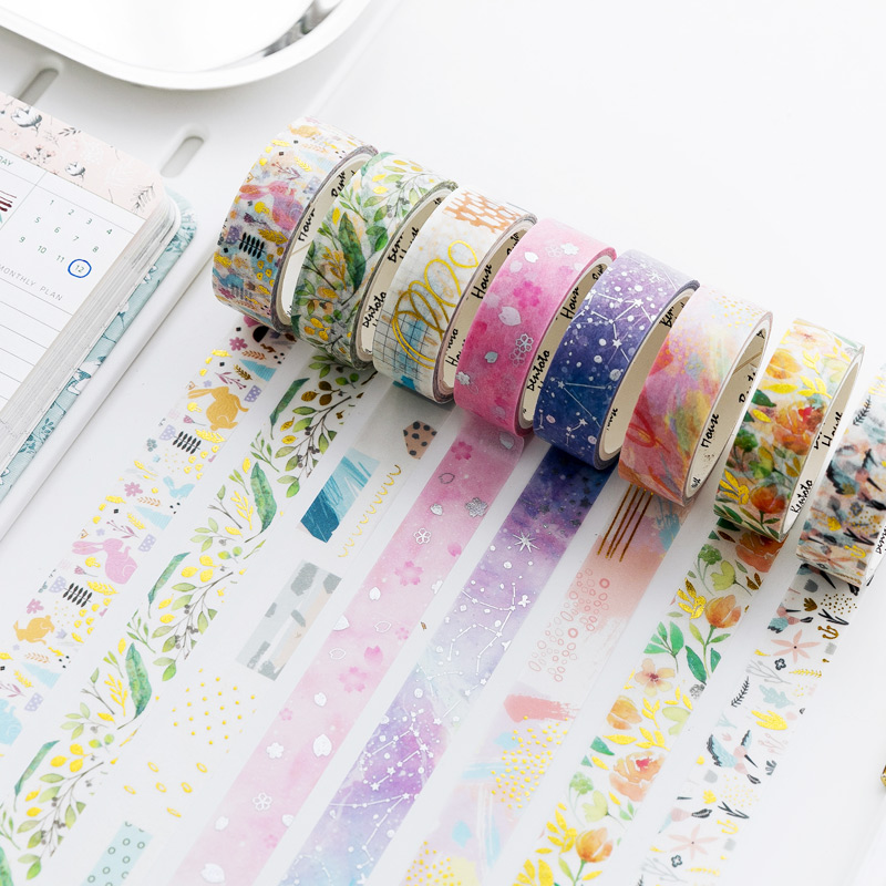 Various Blooming Flowers Gilding Washi Tape Adhesive Tape DIY Scrapbooking Sticker Label Masking Tape School Office Supply