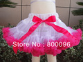 Fashion pettiskirts/  retail tutu Princess skirts baby Girls skirts White skirts with hot pink ruffle PETS-151