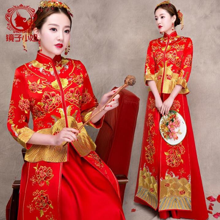 Hot Sales Lady Red DIY Bridesmaids Dress Su Embroidery Chinese Style Wedding Dress Bride Love Eternal Gift Qipao Cheongsam