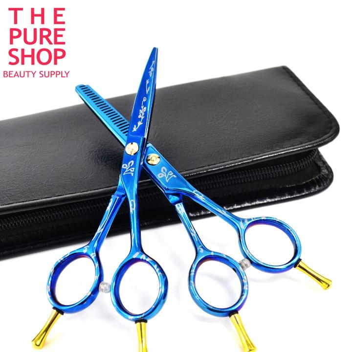 Barber scissors set 5.0 inch blue titanium hair cutting scissors and hair thinning scissors new arrival hot sale hair scissors