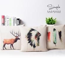 Almohada indio cubierta, creativa acuarela Native American tocado de plumas de ciervos throw pillow case funda de almohada por mayor