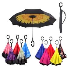 Неавтоматический складной обратный двухслойный зонтик перевернутый ветрозащитный дождь автомобильный зонт для женщин с длинной ручкой зонтик с сумкой