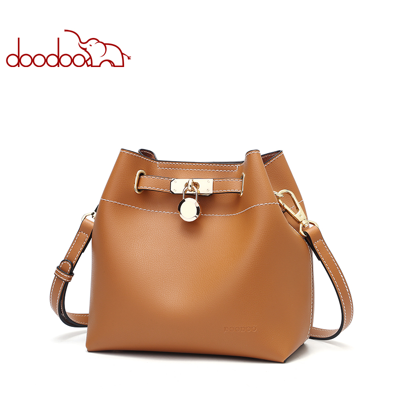 DOODOO Brand Women Handbag Tote Bucket Bag Female Shoulder Crossbody Bags New Ladies Pu Leather Solid Color 2018 Top-handle Bag 10x25mm mini folding binoculars telescope 101m fieldof view with tripod adaptor free shipping