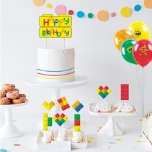 Set of 9 Building Block Brick Theme Cupcake Topper Kit Happy Birthday Cake Topper Baby Boy First Birthday Party Decorations все цены