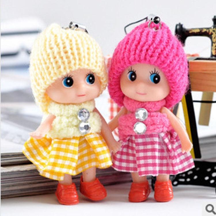 Toys Soft Interactive Baby Plush Dolls Toy Key Chain Doll Keychain for Girls Key Ring Key Holder Mobile Phone Straps