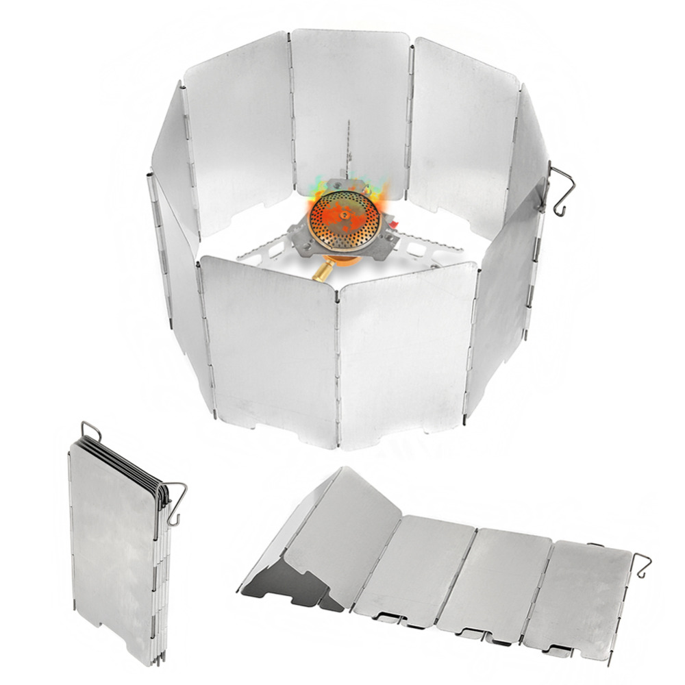 9-Plate Foldable Outdoor Camping Cooking Cooker Gas Stove Wind Shield Screen