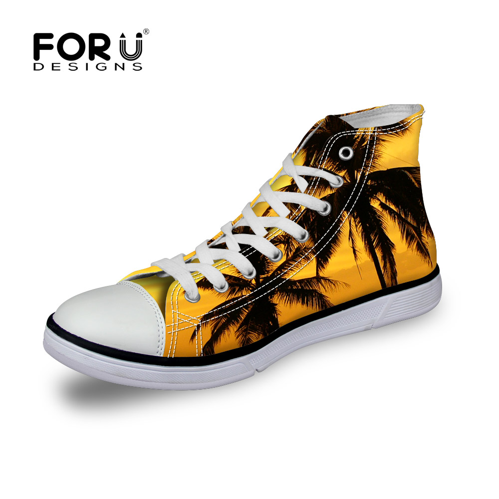 FORUDESIGNS New Design 3D Yellow Palm Tree Print Shoes For Men Boys Male High Top Canvas Lace up Flats Lightweight Student Shoes
