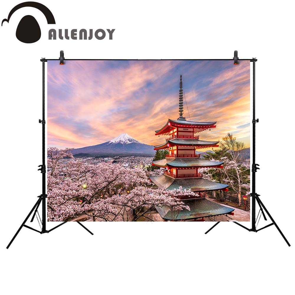 Allenjoy photography backdrop Japan spring cherry blossoms Mount Fuji background photocall photo studio for a photo shoot allenjoy photography backdrop flower door wedding children painting colorful background photo studio photocall photo shoot