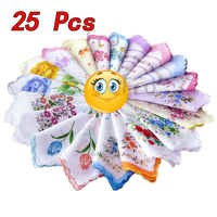25 Pcs Cotton Gauze Muslin Square Handkerchief Towel Lovely Flower Pattern Affordable
