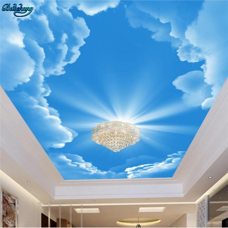 Beibehang Besar Wallpaper Kustom Hd Suasana Estetika Langit Biru Awan Putih Langit Langit Zenith Lukisan Dekoratif Aliexpress